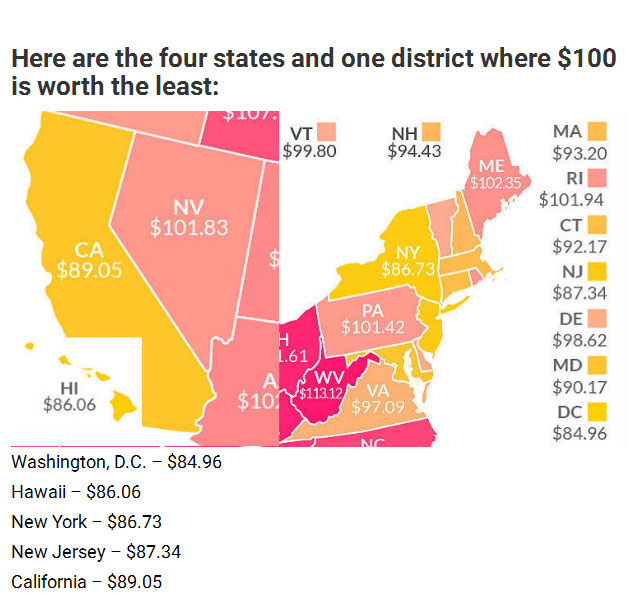 Find Out How Much $100 Is Really Worth In Your State