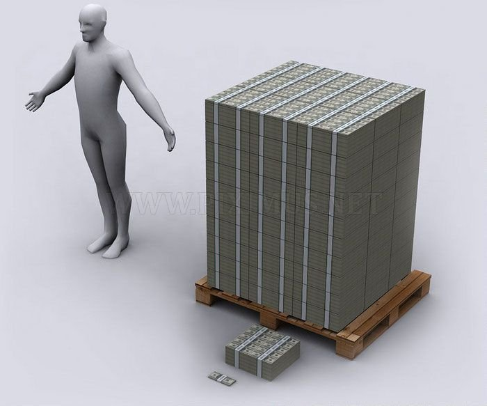 Representation of US Debt With $100 Bills