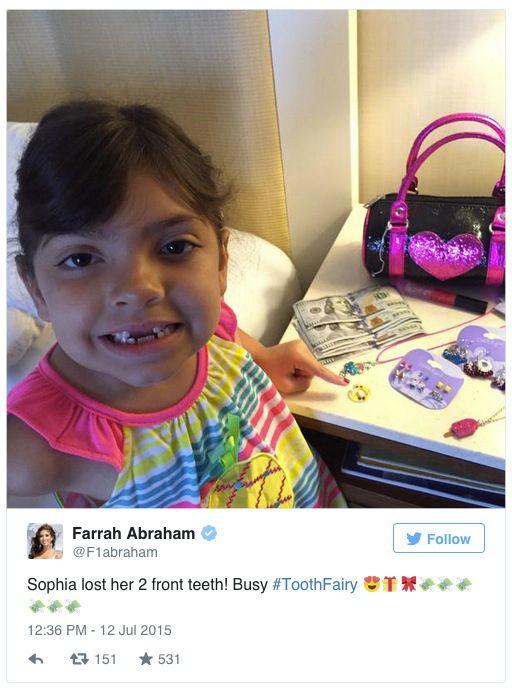 Farrah Abraham Gave Her Daughter $600 After She Lost Two Teeth