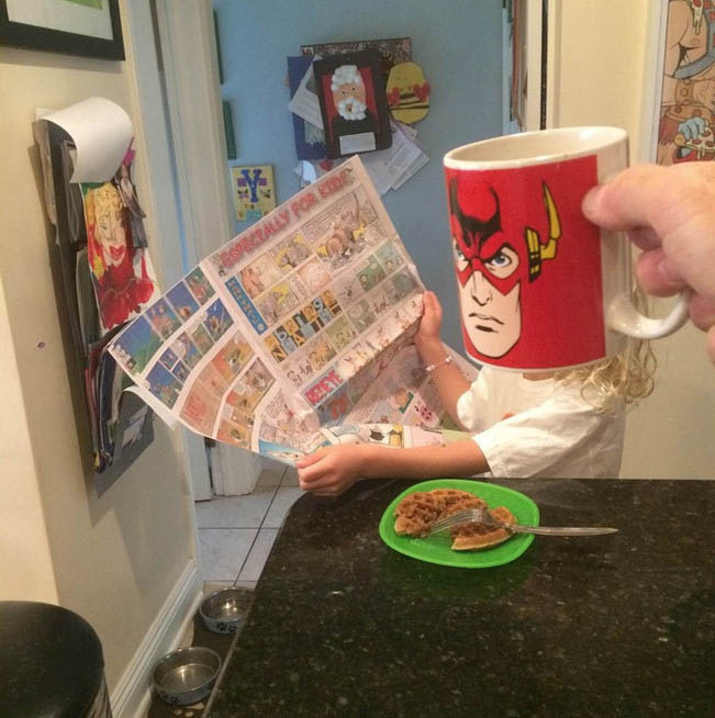 Funny Dad Turns His Family Into Superheroes With #BreakfastMugShots