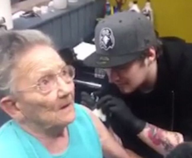 79 Year Old Woman Sneaks Out Of Her Care Home To Get A Tattoo