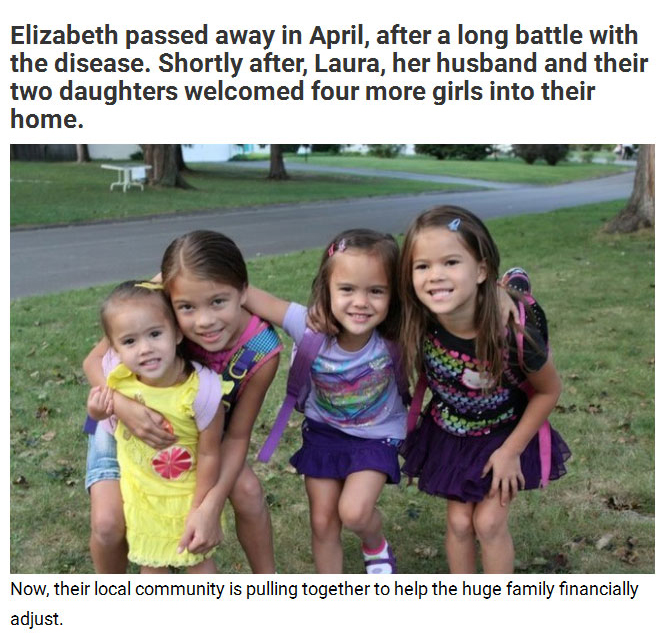 Mother Adopts Best Friend's Four Daughters After Losing Her To Cancer