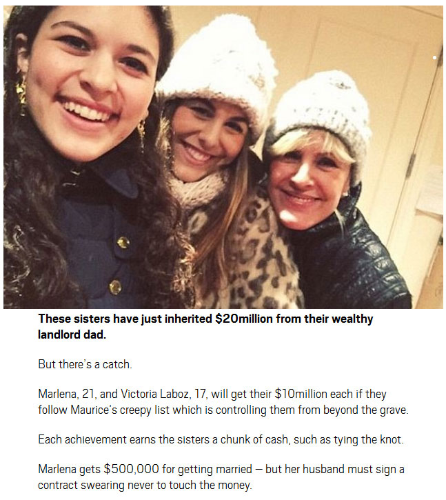 These Daughters Will Get A $20 Million Inheritance If They Follow Dad's List
