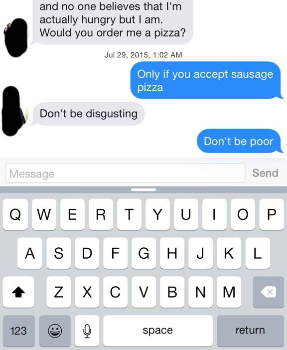 Girl Trolls Tinder Trying To Get Pizza But Instead She Just Gets Burned