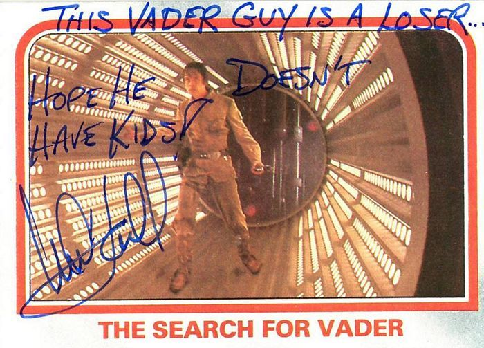 Mark Hamill Left Some Hilarious Autographs On These Star Wars Cards