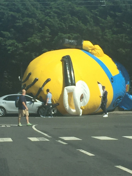 Giant Minion Causes Big Traffic Problems In Ireland