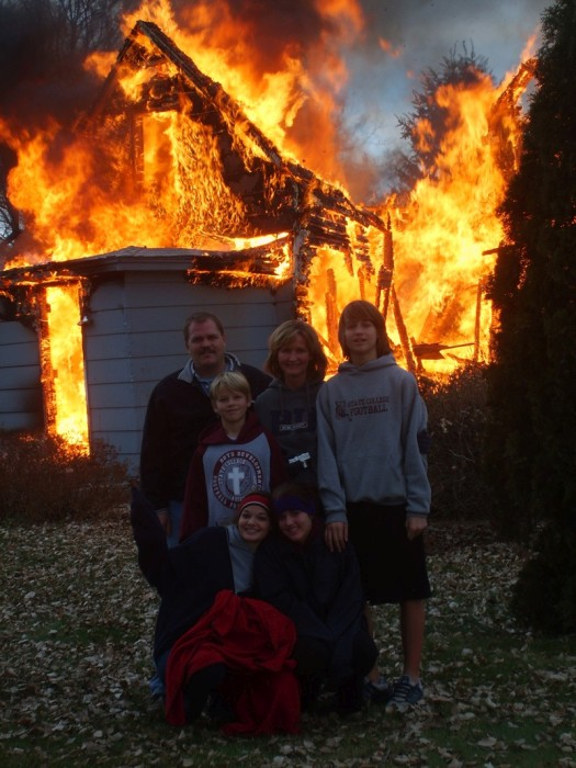 Happy Pictures That Were Taken As The Background Burned To The Ground