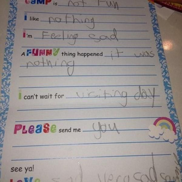 When Kids Send Overly Dramatic Letters From Camp