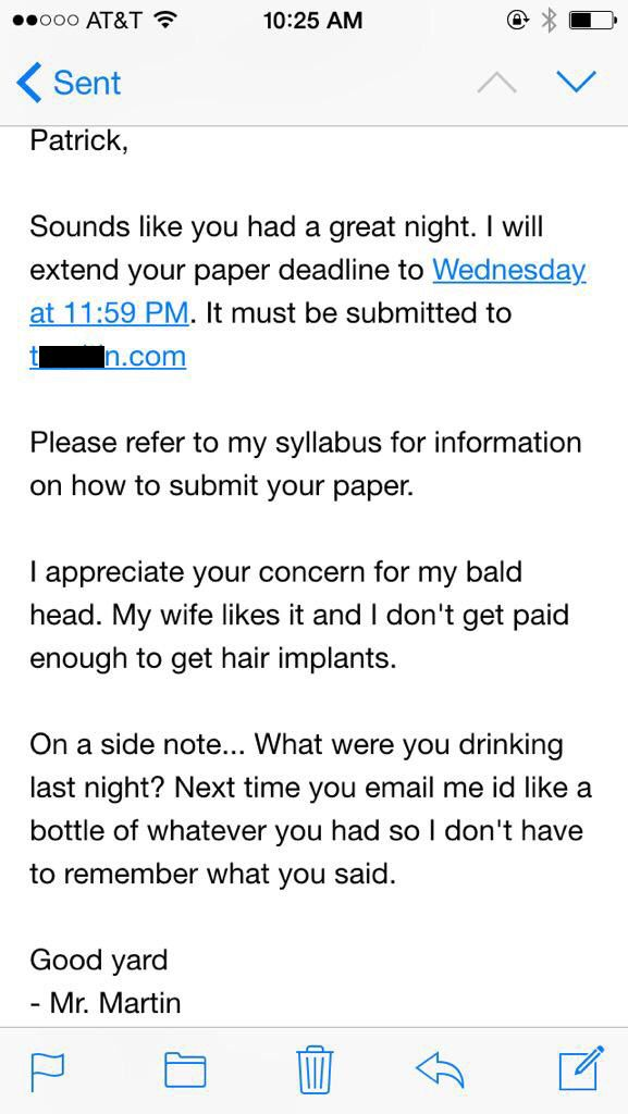 This Student Sent A Drunk E-Mail To His Teacher And Got An Awesome Response