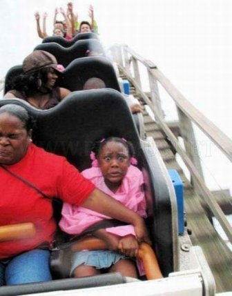 People Riding Roller Coasters