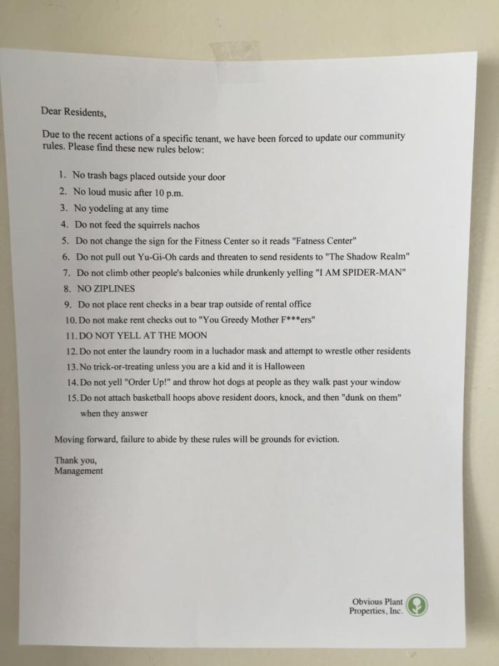 Man Leaves Funny Letter From Management On Apartment Complex Doors