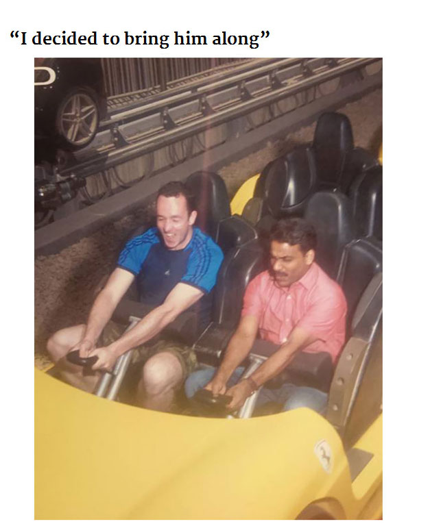 Friendly Passenger Takes His Cab Driver To Theme Park For The First Time