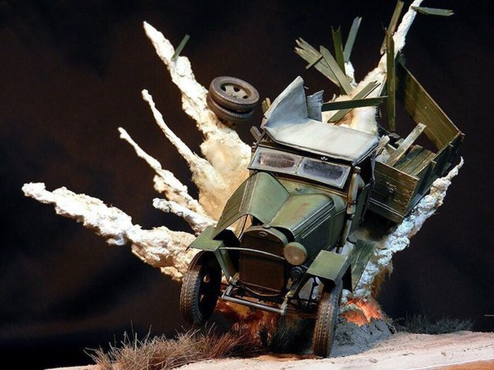 Amazing Diorama Perfectly Recreates The Image Of An Exploding Car