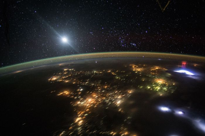 Rare Red Sprite Cluster Photographer By ISS Astonauts
