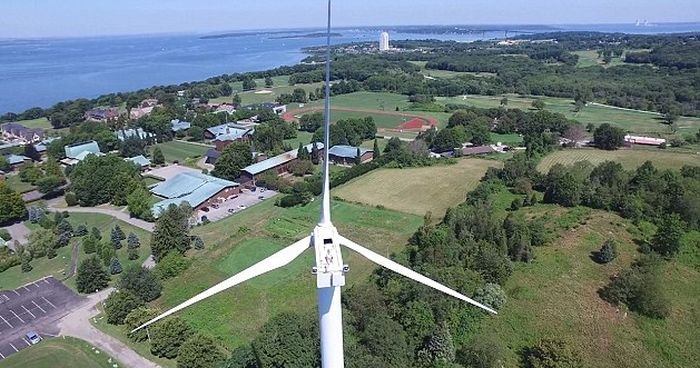 Drone Spots Man Sunbathing On Top Of A 200 Ft Tall Wind Turbine