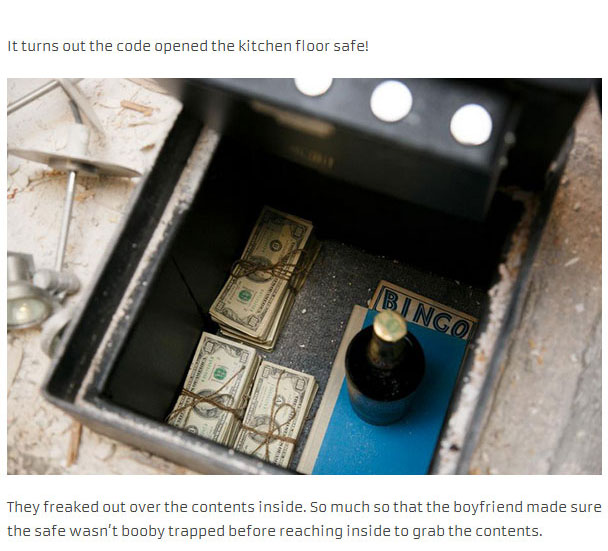 Couple Finds A Lot Of Interesting In A Hidden Safe