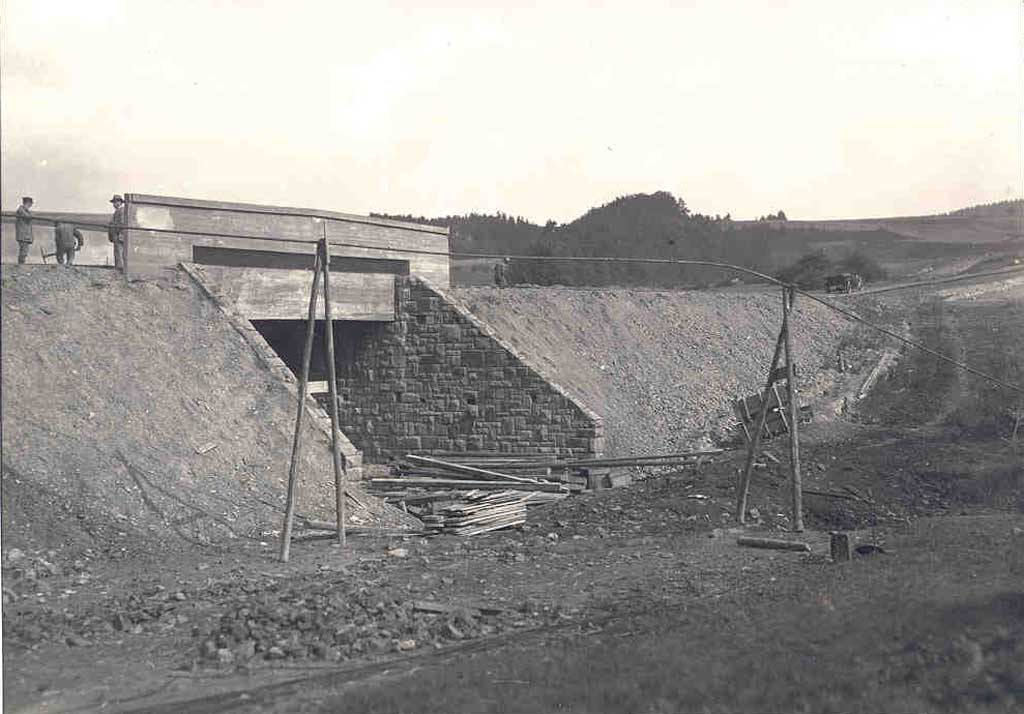 Construction of the Nürburgring race track in Germany