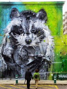 Big Raccoon Gets Turned Into 3D Street Art