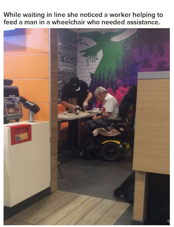 Compassionate McDonald's Worker Helps Man Who Can't Feed Himself