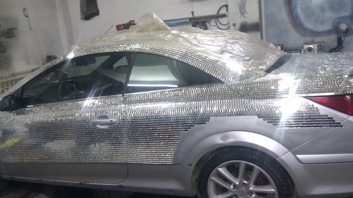 Cool Car Is Covered Completely With Mirrors