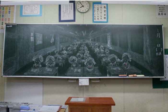Class Artist Draws Incredible Pictures On The Chalkboard