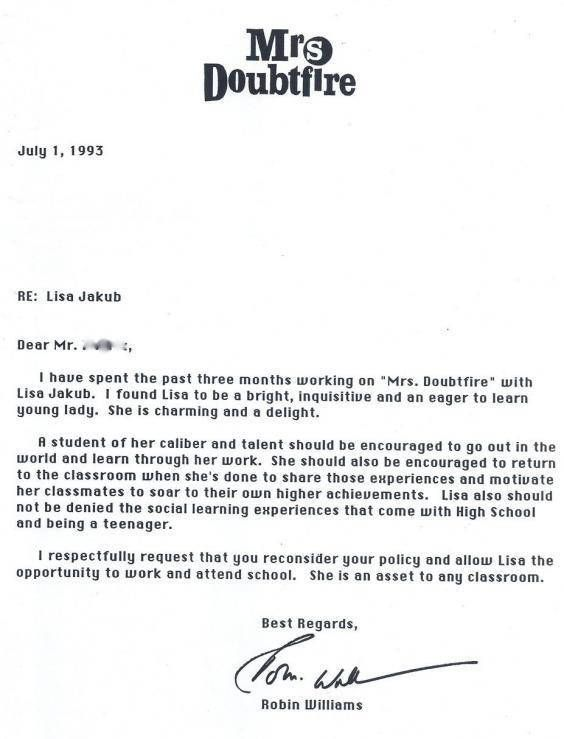 Robin Williams' Letter Of Recommendation For A Co-Star Is Heartwarming