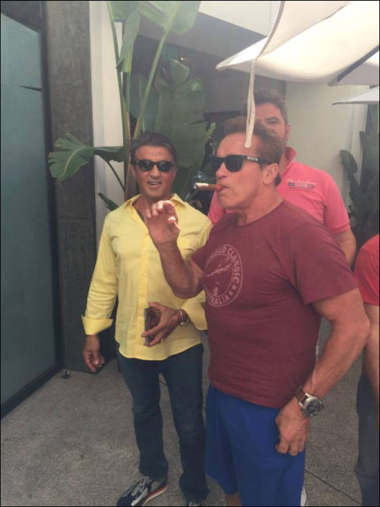 Sylvester Stallone And Fan Get Photobombed By Arnold Schwarzenegger