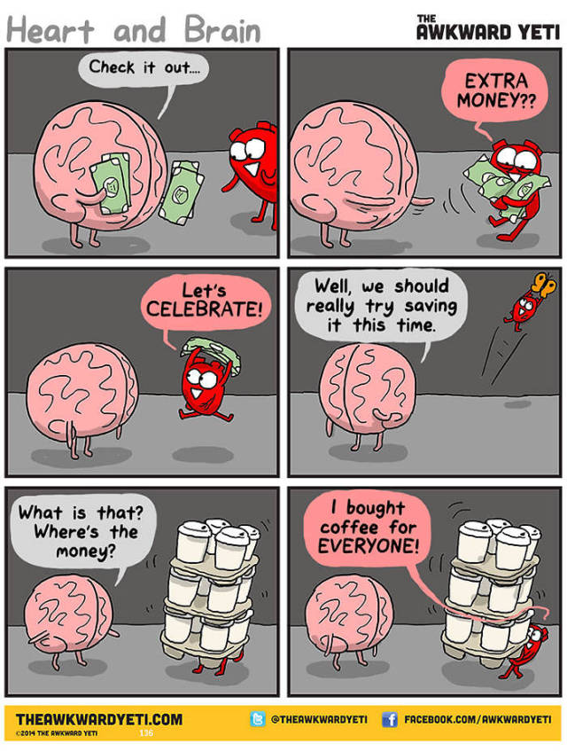 Funny Pictures Show The Constant Struggle Between Our Hearts And Minds