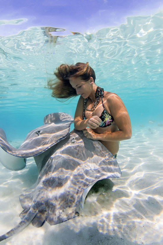Underwater Photos Show Gorgeous Models Swimming With Stingrays