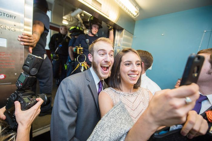 This Wedding Party Get Trapped In An Elevator But Just Kept Partying