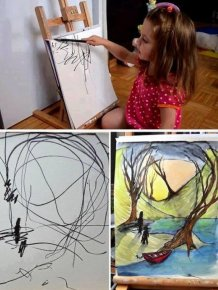 Mom Transforms 2 Year Old Daughter's Scribbles Into Art Masterpieces