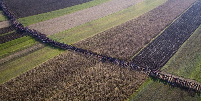 Thousands March Across The Balkans In An Attempt To Reach Western Europe