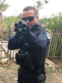 Police In Brazil Seize A Twelve Gauge Six Barrel Shotgun