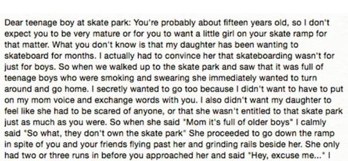 Mom Writes Touching Thank You Letter To A Teenage Skateboarder