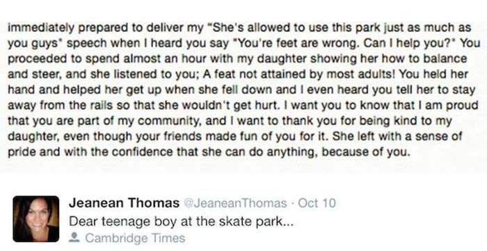 Mom Writes Touching Thank You Letter To A Teenage Skateboarder  Others