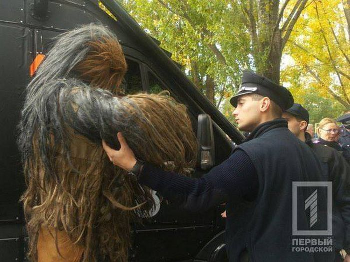 Chewbacca From Star Wars Gets Arrested For Campaigning On Election Day