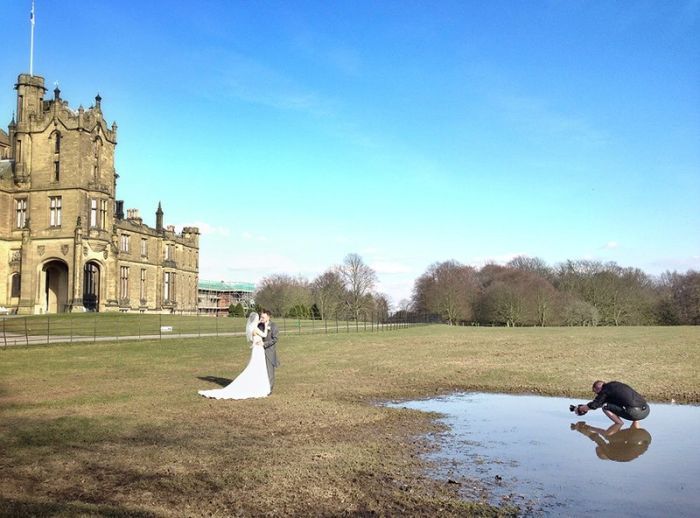 Photographer Gets His Feet Wet For A Wedding Photo