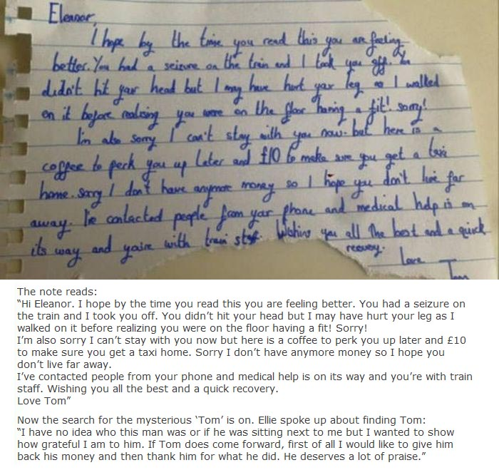 Man Leaves Heartwarming Note For Girl Who Had A Seizure On The Train