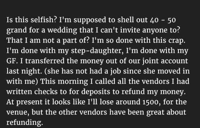 Step Dad Stops Funding His Step Daughter's Wedding For A Good Reason