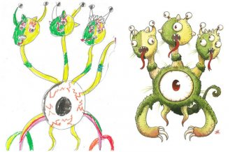 Artists Turns Kids' Monster Doodles Into Works Of Art