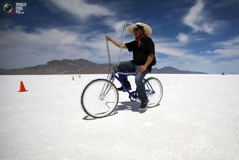 Racing on salt desert in Bonneville