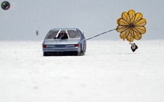 Racing on salt desert in Bonneville