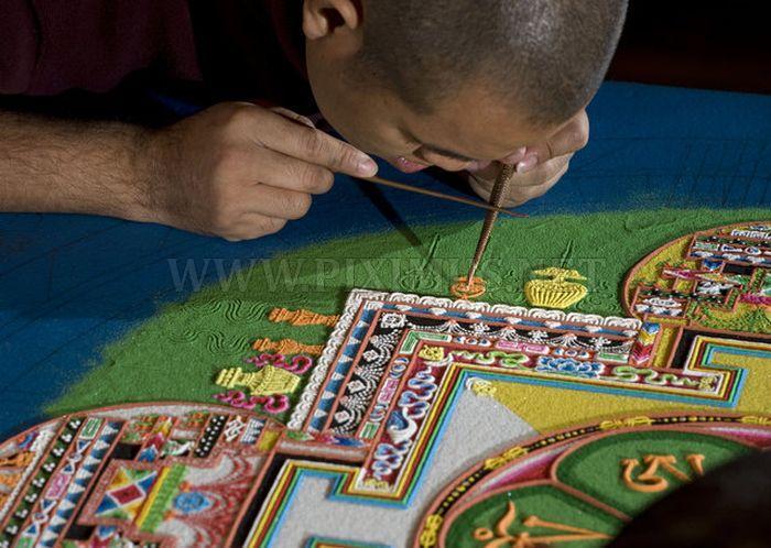 Tibetan Monks Make Sand Mandala in Placerville
