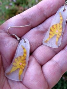 Orange Tiger Catbutt Earrings