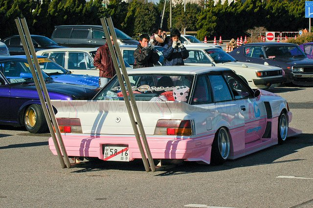 Custom rides spotted in the parking lot at the Tokyo Auto Salon
