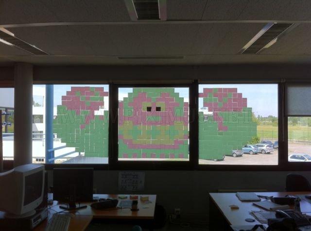 Impressive Post-It Note Window Art