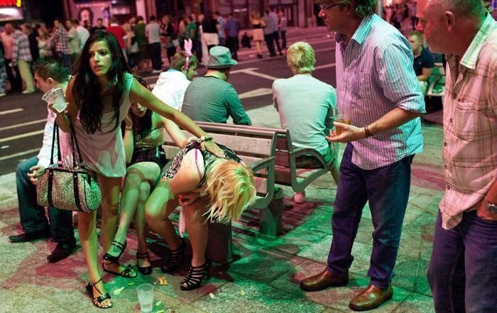 In Britain, the weekend rolls through the streets of drunken young people