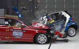 Smashed up Smart cars