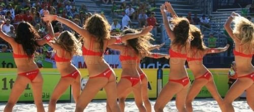 Cheerleaders on the beach