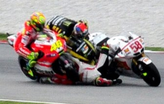 Marco Simonchelli died in an accident on the Malaysian Grand Prix World Championship Moto GP